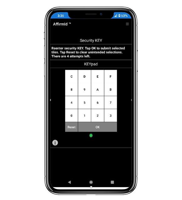 AffirmID Multi Factor Authorization security key screenshot on phone   ProteqsIT